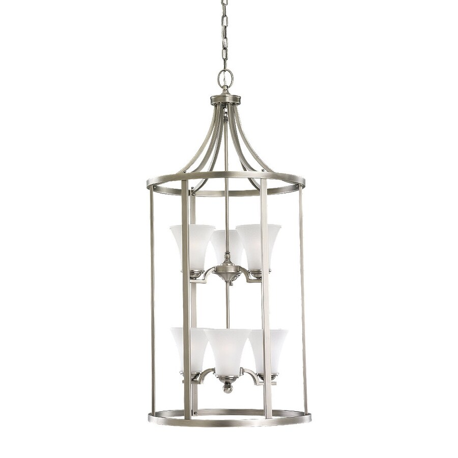 Sea Gull Lighting Somerton 19-in Antique Brushed Nickel Vintage Single Etched Glass Cage Pendant