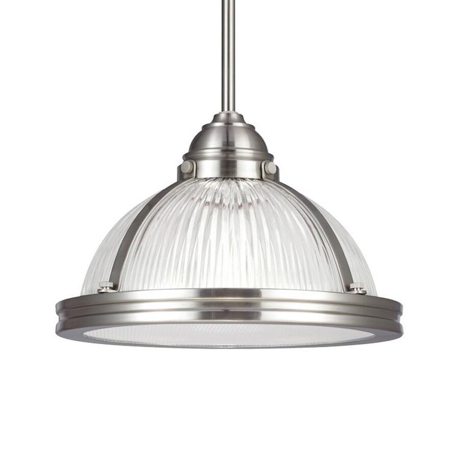 Sea Gull Lighting Pratt Street 11-in Brushed Nickel Industrial Single Ribbed Glass Warehouse Pendant
