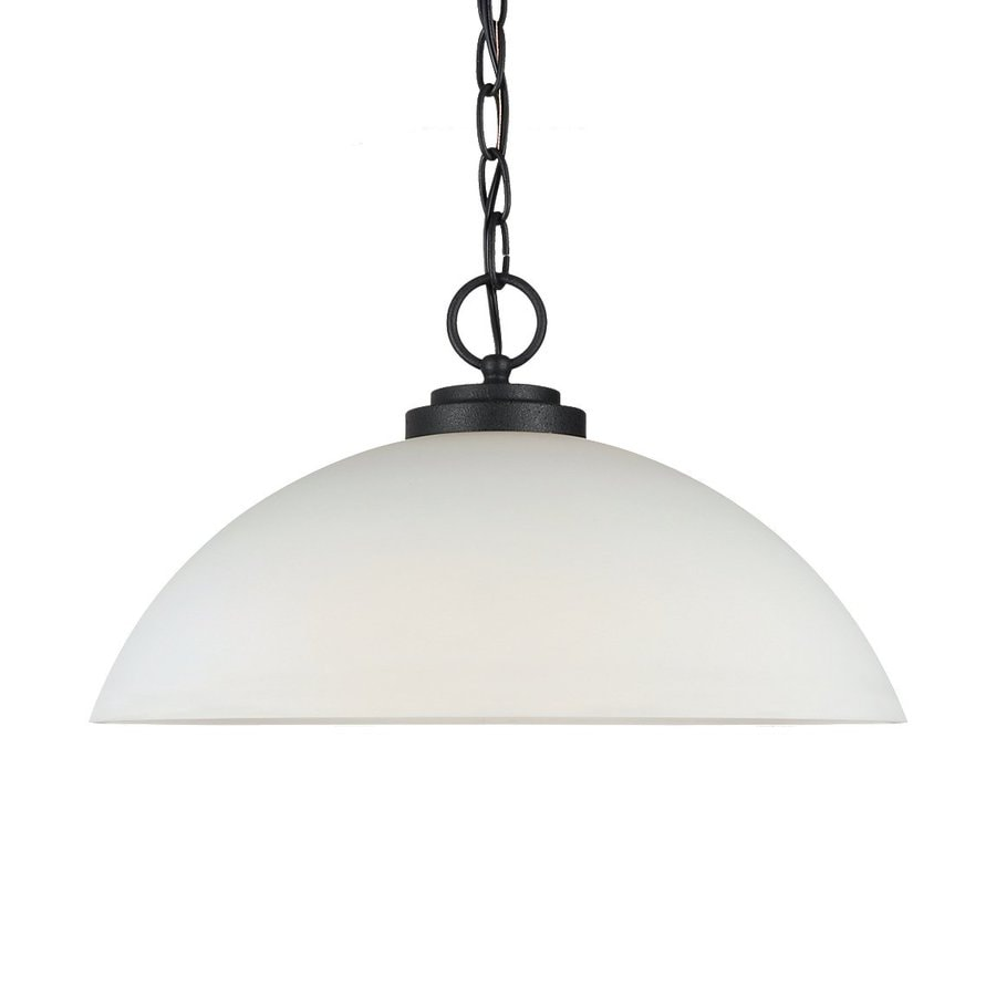 Sea Gull Lighting Oslo 15.75-in Blacksmith Single Etched Glass Dome Pendant