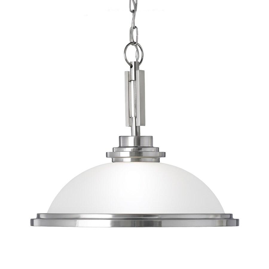 Sea Gull Lighting Winnetka 16.75-in Brushed Nickel Industrial Single Etched Glass Bowl Pendant