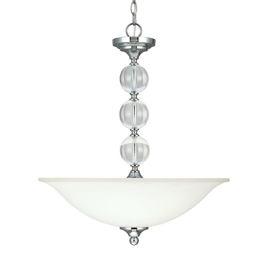 Sea Gull Lighting Englehorn 20-in Chrome Single Etched Glass Bowl Pendant