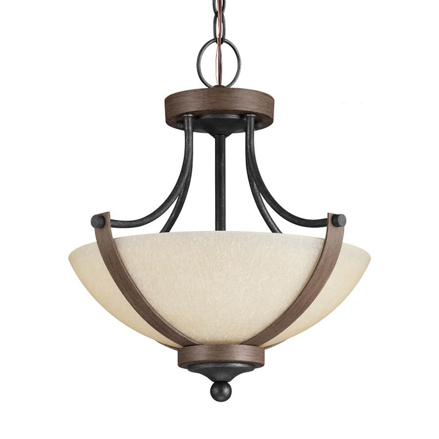 Sea Gull Lighting Corbeille 15.25-in Stardust/Cerused Oak Single Tinted Glass Bowl Pendant