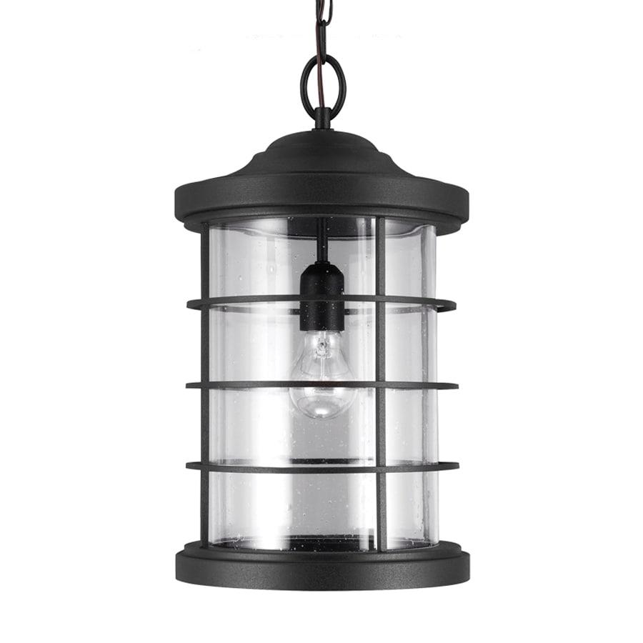 Sea Gull Lighting Sauganash 18.25-in Black Outdoor Pendant Light ENERGY STAR