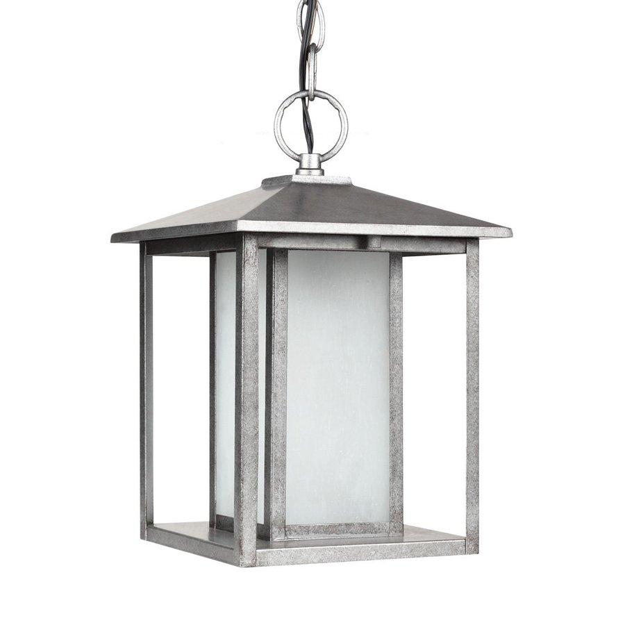 Sea Gull Lighting Hunnington 13.75-in Weathered Pewter Outdoor Pendant Light ENERGY STAR