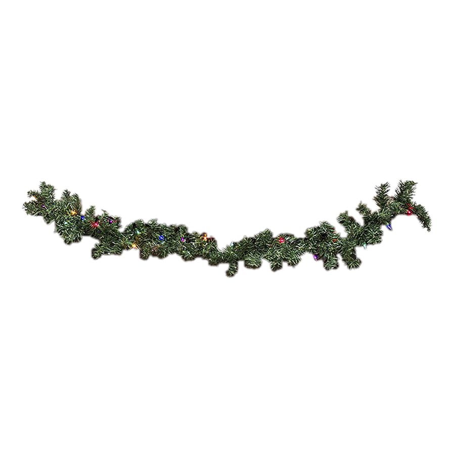 Northlight Bright Gate Pre-Lit 9-ft L Pine Garland with Multicolor Incandescent Lights