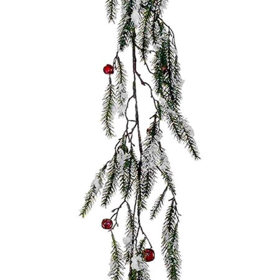 Northlight Allstate 5-ft L Snowy Pine Garland with Red Jingle Bells