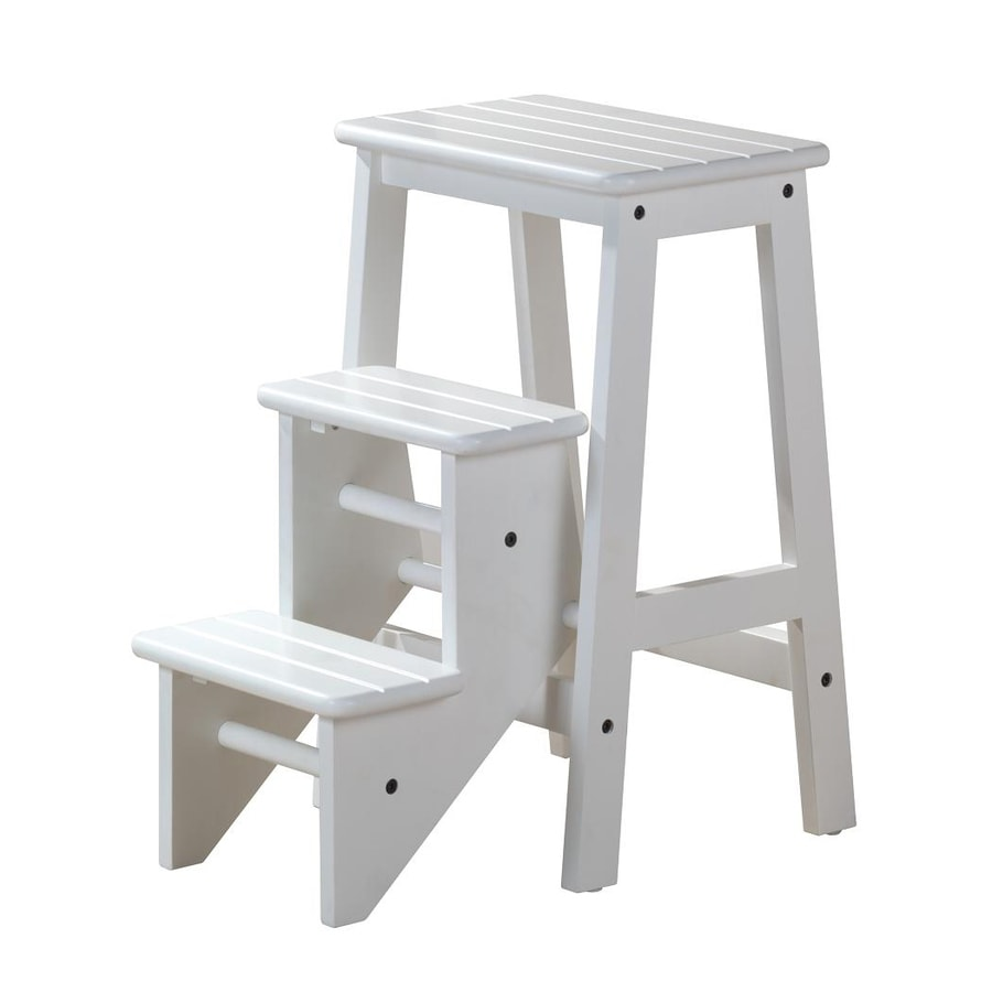 Shop Boraam Industries 3 Step White Wood Step Stool At