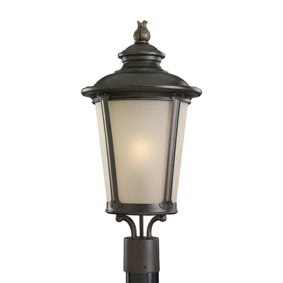 Shop sea gull lighting cape may 23 in h burled iron post for Lamp post light lowes
