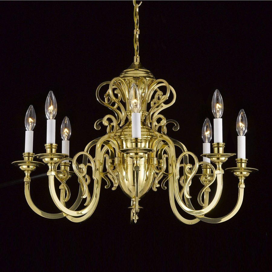 Weinstock Illuminations 28-in 8-Light Polished Brass Williamsburg Candle Chandelier