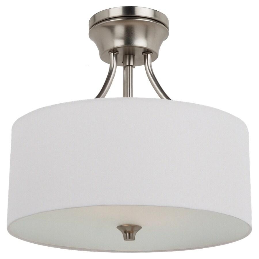 Sea Gull Lighting Stirling 14-in W Brushed Nickel Fabric Semi-Flush Mount Light
