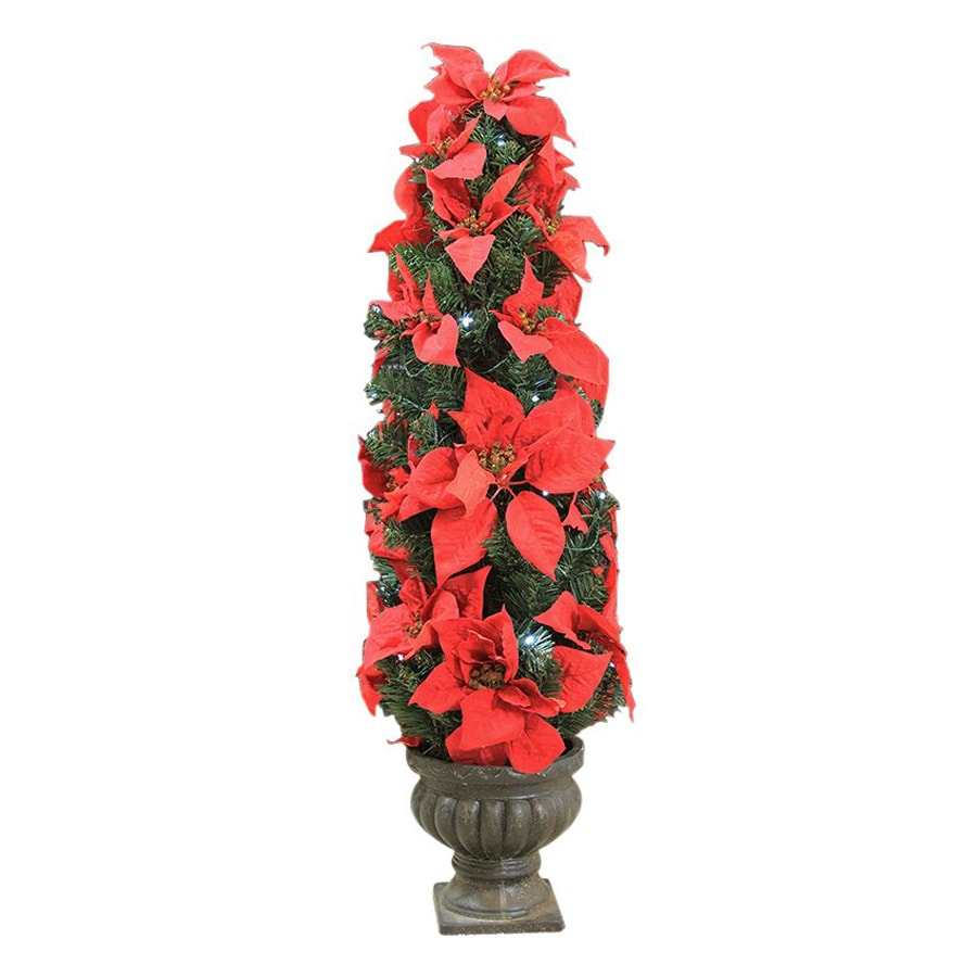 Northlight LB International 3-ft Pre-Lit Poinsettia Slim Artificial Christmas Tree with White Cool LED Lights