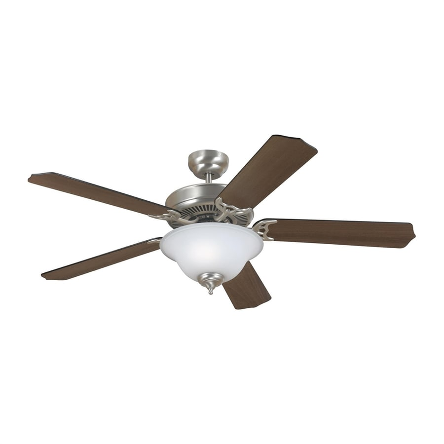 Sea Gull Lighting Quality Max Plus 52-in Brushed Nickel Downrod or Close Mount Indoor Ceiling Fan with Light Kit (5-Blade) ENERGY STAR