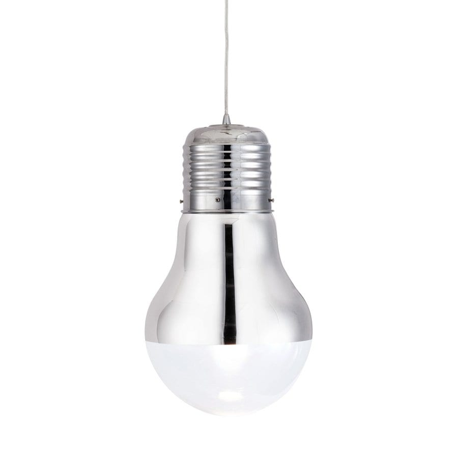 Zuo Modern Gilese 11-in Chrome Industrial Single Tinted Glass Pendant