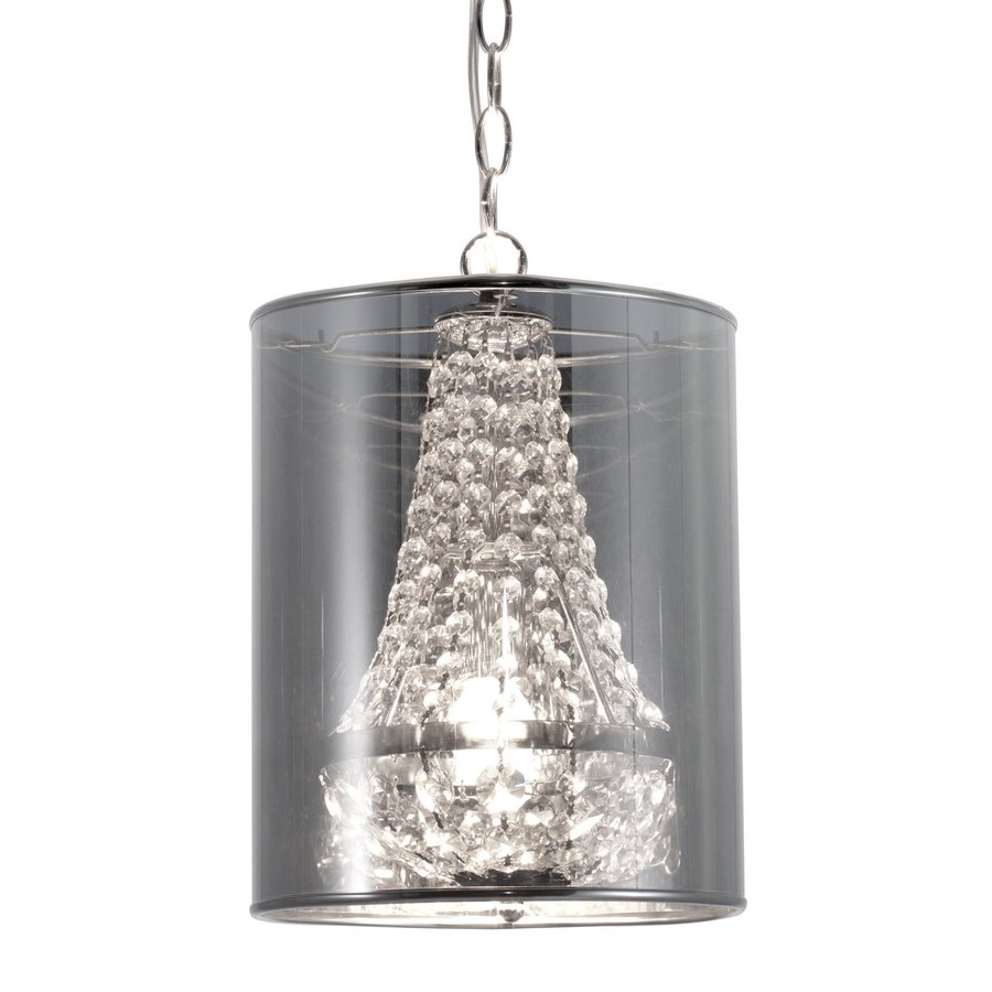 Zuo Modern Byrion 9.8-in Clear Black Crystal Mini Mirrored Glass Cylinder Pendant