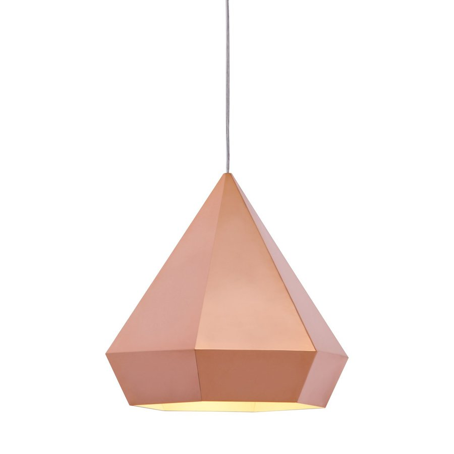 Zuo Modern Forecast 13.8-in Rose Gold Single Geometric Pendant