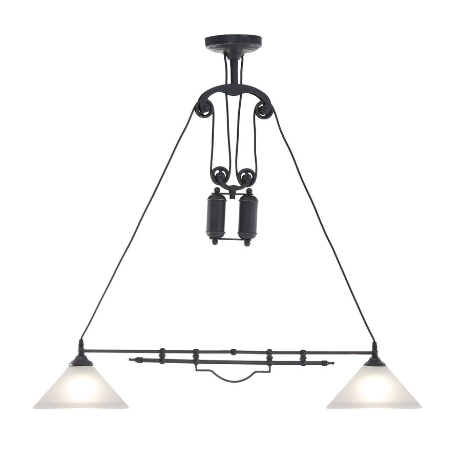 Zuo Modern Agate 8.6-in W 2-Light Antique Black Gold Vintage Standard Kitchen Island Light with Frosted Shade