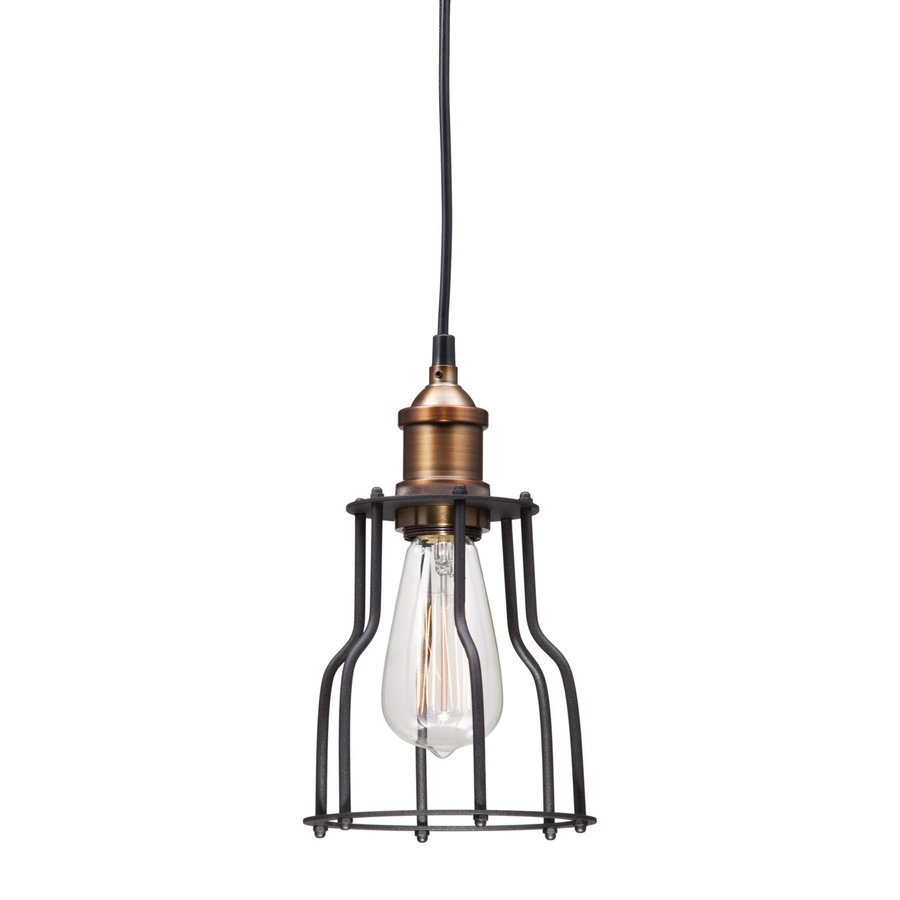 Zuo Modern Aragonite 5.9-in Black/Copper Industrial Mini Cage Pendant