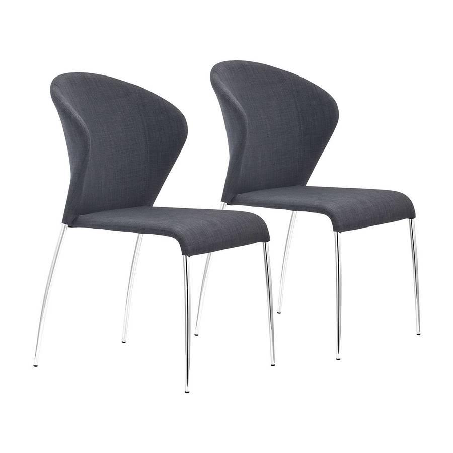 Zuo Modern Set of 2 Oulu Chrome Side Chairs