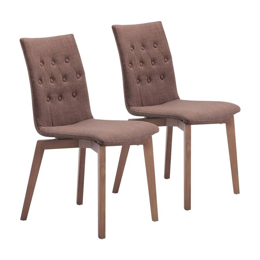 Zuo Modern Set of 2 Orebro Walnut Side Chairs