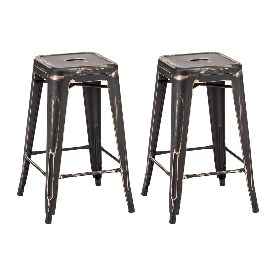 Zuo Modern Set of 2 Marius Antique Black Gold 25.98-in Counter Stool