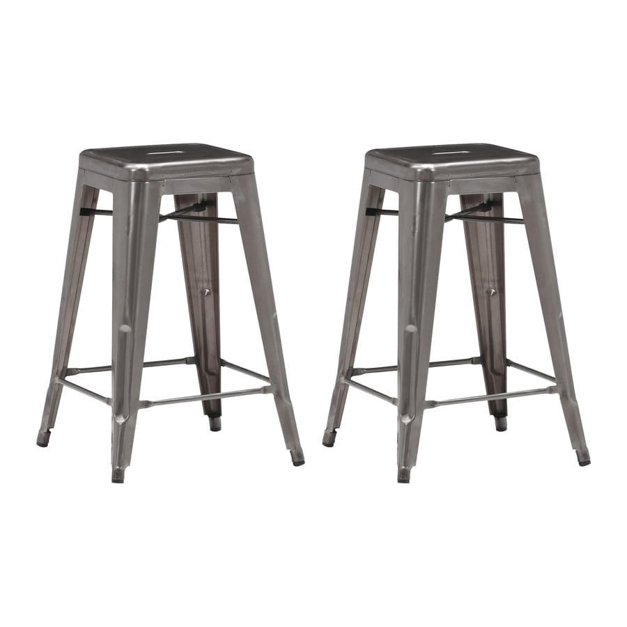 Zuo Modern Set of 2 Marius Gunmetal 25.98-in Counter Stool