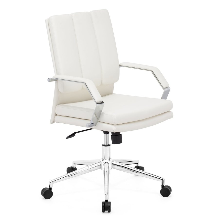 shop zuo modern director pro white faux leather task office chair at