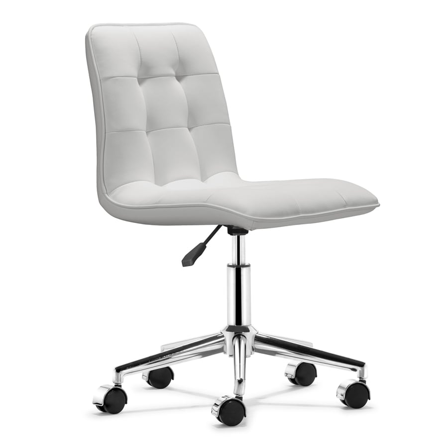 Shop zuo modern scout white faux leather task office chair for Modern white office chair