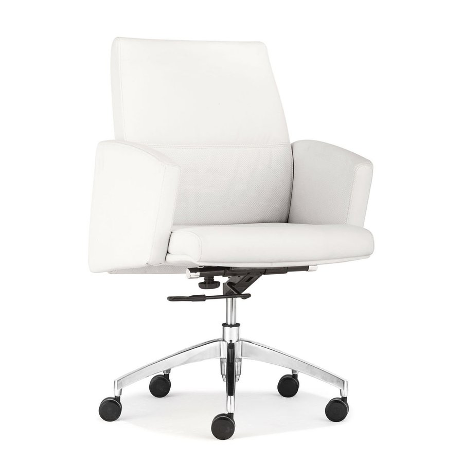 Zuo Modern Chieftain White Faux Leather Manager Office Chair