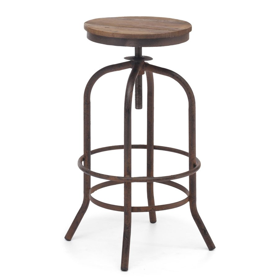 Zuo Modern Twin Peaks Distressed Natural 34.3-in Bar Stool