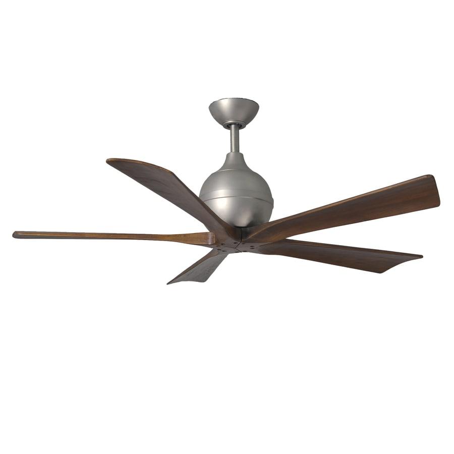 Matthews Irene 52-in Brushed Nickel Downrod Mount Indoor/Outdoor Ceiling Fan with Remote (5-Blade)