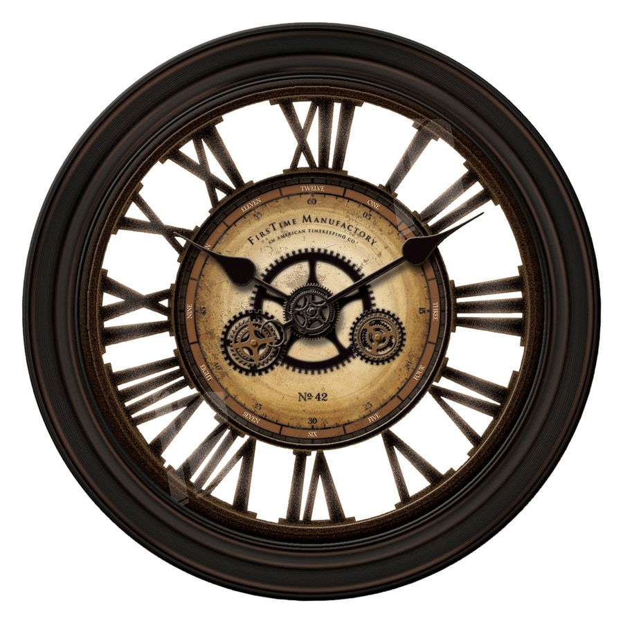 FirsTime Manufactory Gearworks Analog Round Indoor Wall Standard Clock