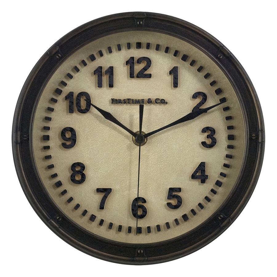 FirsTime Manufactory Raised Station Analog Round Indoor Wall Standard Clock