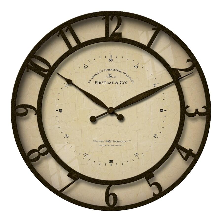 FirsTime Manufactory Kensington Whisper Analog Round Indoor Wall Standard Clock