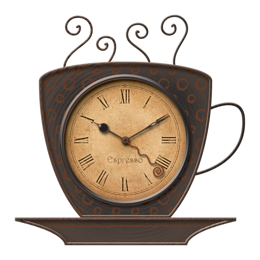 Shop firstime manufactory bronze coffee cup analog round indoor wall standard clock at - Coffee themed wall clocks ...