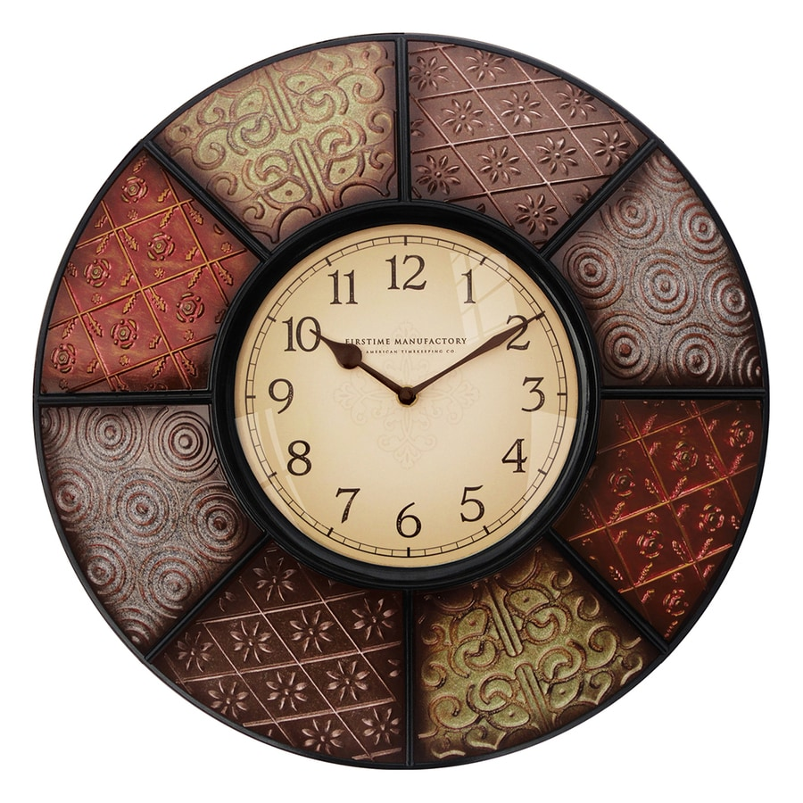 FirsTime Manufactory Patchwork Analog Round Indoor Wall Standard Clock
