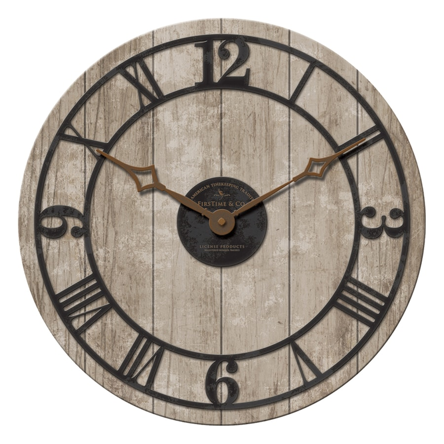 FirsTime Manufactory Reclaimed Whitewash Analog Round Indoor Wall Standard Clock