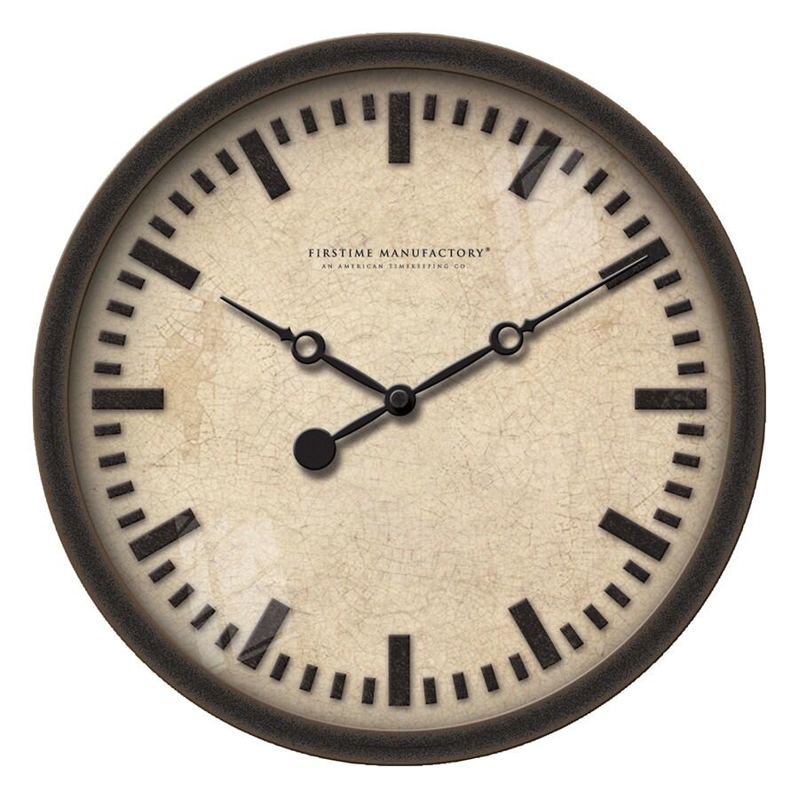 FirsTime Manufactory Raised Bronze Analog Round Indoor Wall Standard Clock