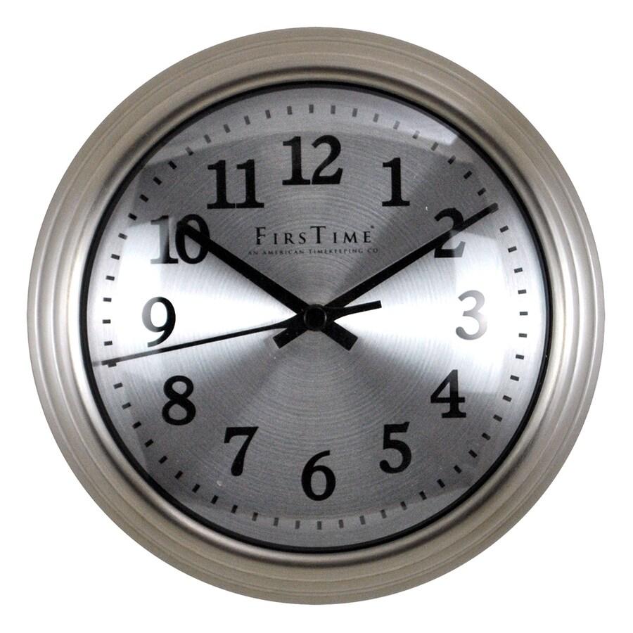 FirsTime Manufactory Sleek Steel Analog Round Indoor Wall Standard Clock