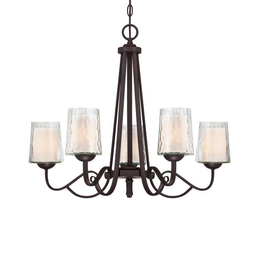 Cascadia Lighting Adonis 26-in 5-Light Dark Cherry Wrought Iron Textured Glass Shaded Chandelier