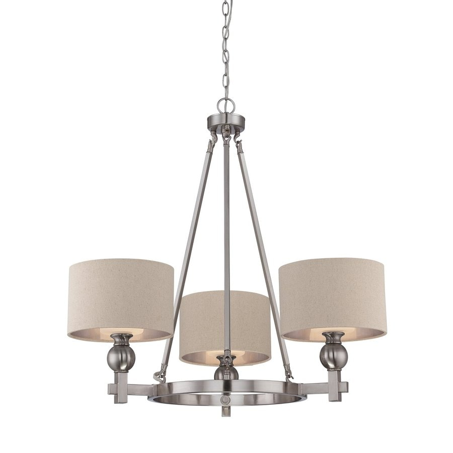 Cascadia Lighting Metro 33.5-in 3-Light Brushed Nickel Shaded Chandelier