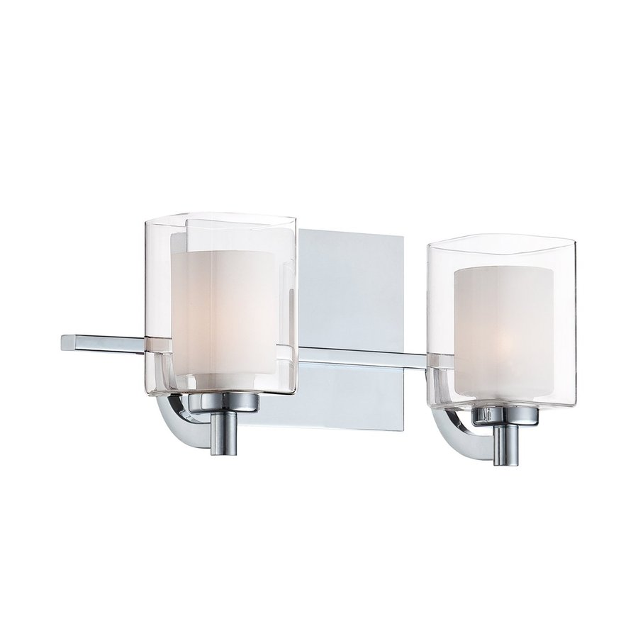 Shop cascadia lighting 2 light kolt polished chrome for Bathroom light fixtures lowes
