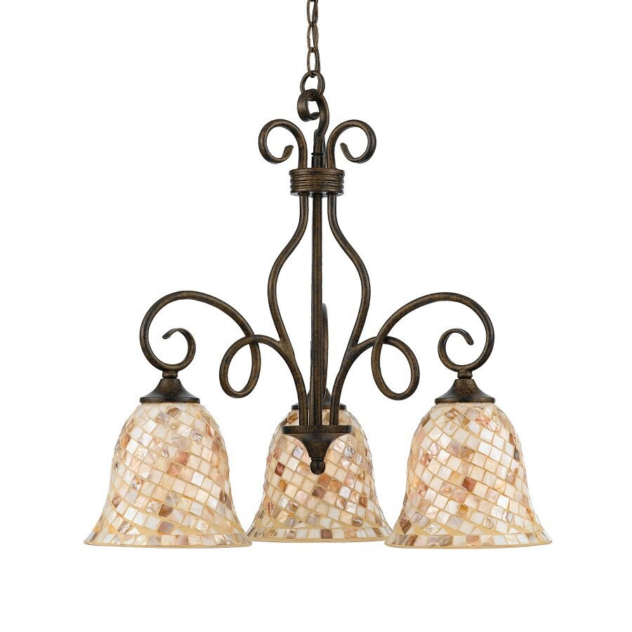 Cascadia Lighting Monterey Mosaic 24-in 3-Light Malaga Coastal Textured Glass Shaded Chandelier