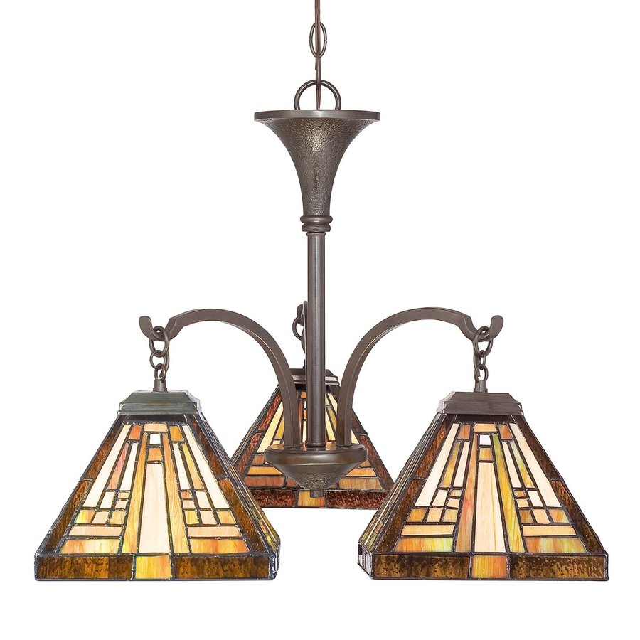 Cascadia Lighting Stephen 24.5-in 3-Light Vintage Bronze Tiffany-Style Stained Glass Shaded Chandelier