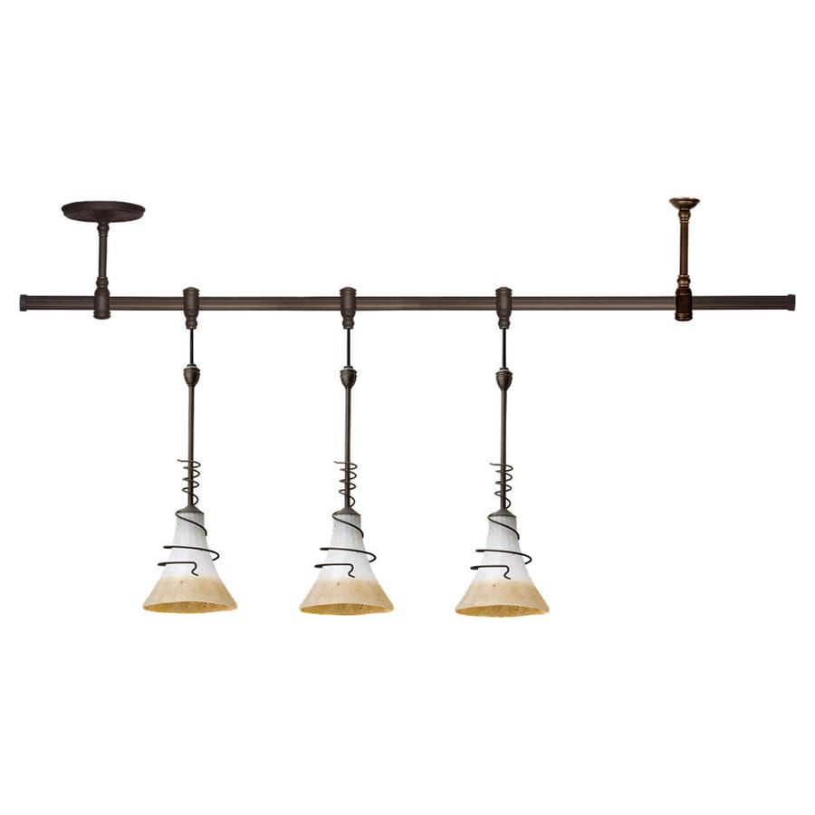 Ambiance by Sea Gull Saratoga 3-Light 47.62-in Antique Bronze Flexible Track Light with Ember Glow Glass