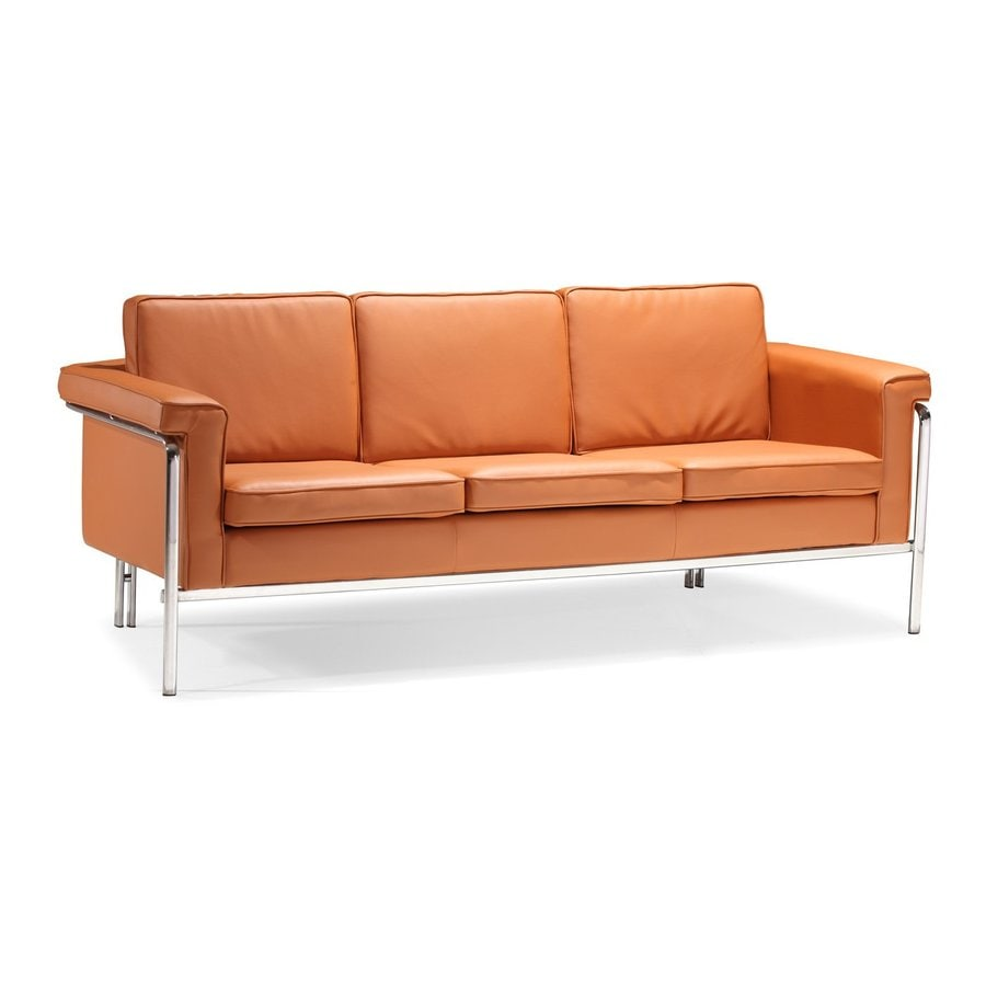 Zuo Modern Singular Terracota Faux Leather Stationary Sofa