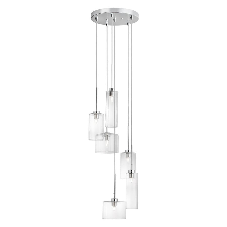 Dainolite Lighting Industrial Chic 11-in Polished Chrome Multi-Light Clear Glass Cylinder Pendant
