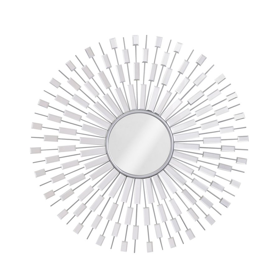 Zuo Modern Myan 40.9-in x 40.9-in Silver Polished Round Framed Sunburst Wall Mirror