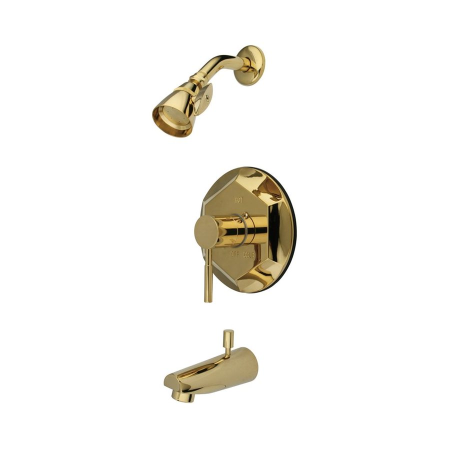 Elements of Design NuVofusion Polished Brass 1-Handle Bathtub and Shower Faucet Trim Kit with Single Function Showerhead