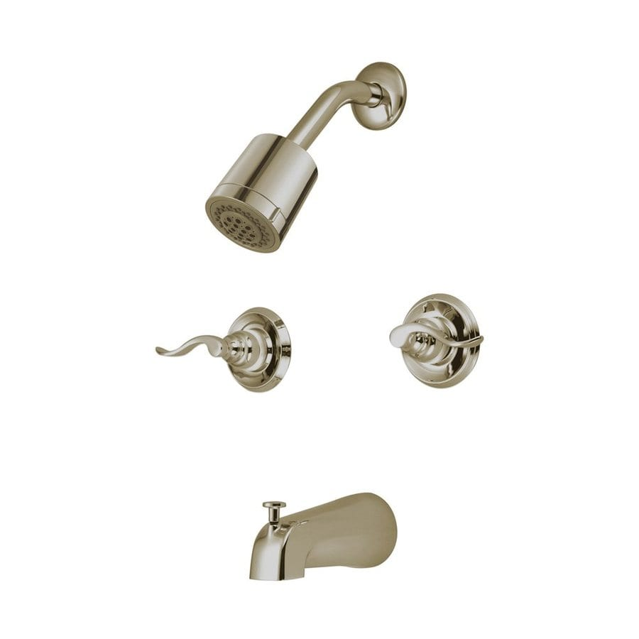 Elements of Design NuWave French Satin Nickel 2-Handle Bathtub and Shower Faucet Trim Kit with Multi-Function Showerhead