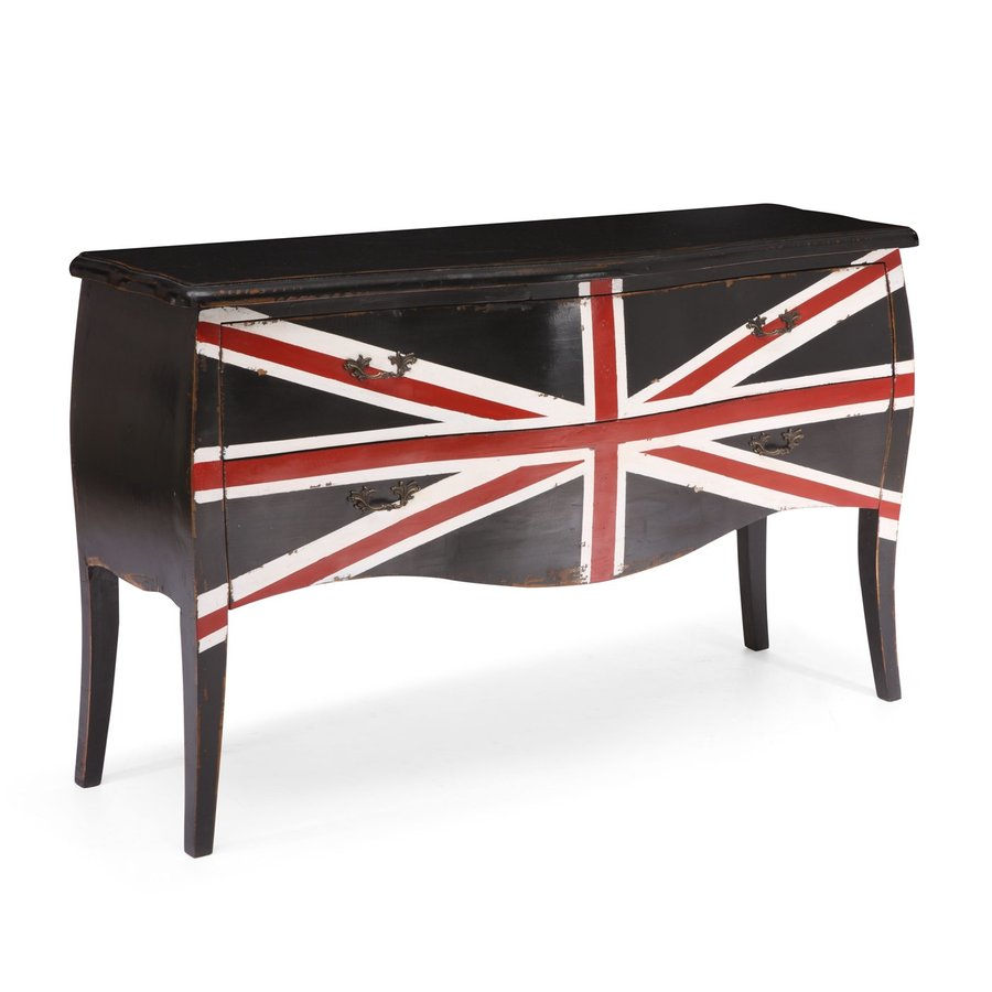 Zuo Modern Union Jack Distressed Black Elm Rectangular Console and Sofa Table